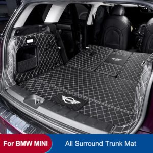 Car Trunk Mat For BMW MINI ONE Cooper F54 F55 F56F60R60 Leather Pad JCW Parts COUNTRYMAN CLUBMAN HATCHBACK car Accessories