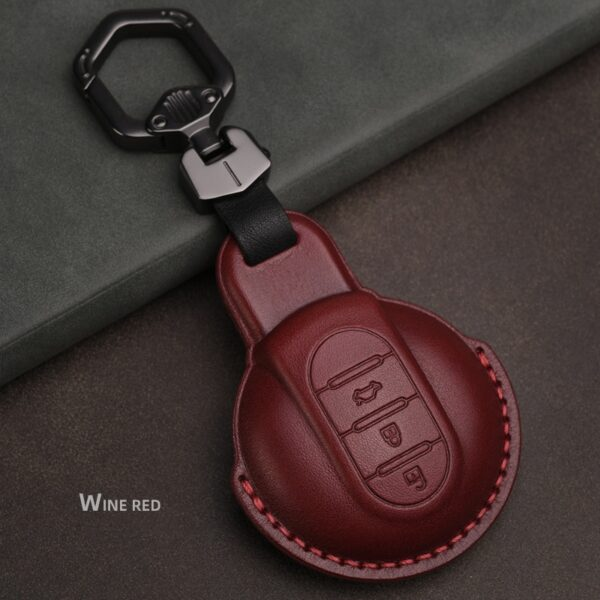 Leather Car Key Cover Case for Bmw mini cooper Key Cover Keycase for mini cooper F55 F56 F57 F54 F60 Key Chain Protect